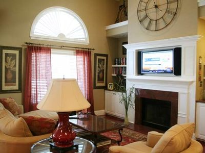 Living Room with Large Flat Screen Smart TV