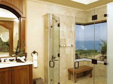 Master Suite bathroom with a stunning view of the ocean