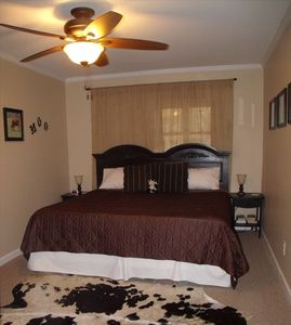 Spruce Pine house rental - Downstairs King Bedroom (Cow Theme)