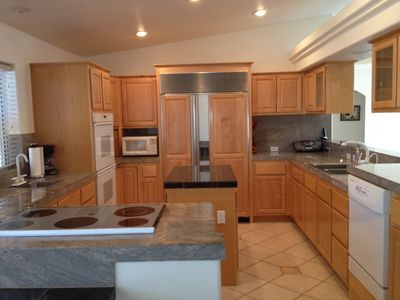 Lake Havasu City house rental - Chef's Kitchen with Sub Zero Refrigerator cook top with double ovens/double sink