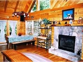 Wears Valley cabin photo - Living and dining area, with gas fireplace, and queen size sleeper sofa