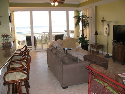 Open living area with great views of the beach as taken from the front door.