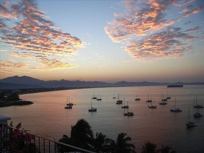 Sunrise from your balcony at Dolphin Cove Inn, Manzanillo Beach