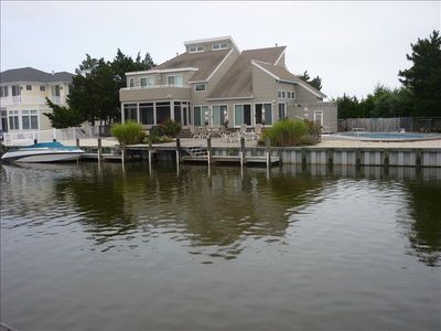 Loveladies house, from across lagoon, shows boat dock.