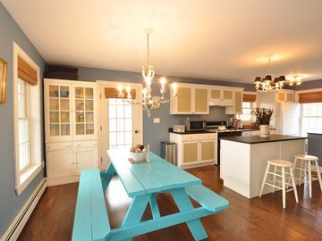 Fun, casual and spacious kitchen and dining area is a wonderful place to gather.