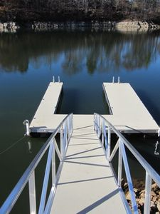 Private aluminum dock with large slip.