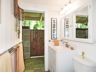 Kailua house photo - Full bathroom shared by pool side and garden bedroom. Shower opens to outside.