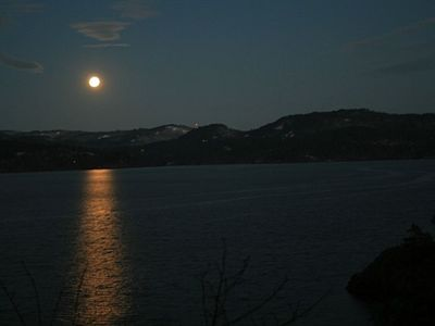 An enchanting moonlit night over the Sooke Basin.
