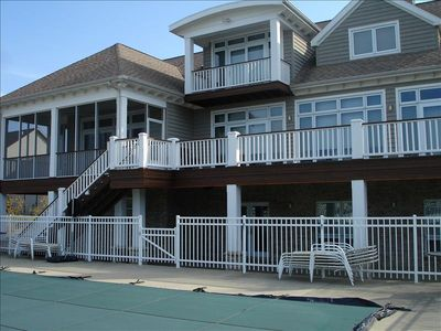 Screened porch and decks with lake views. Overlook heated pool.