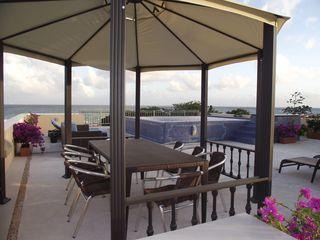 Playacar house photo - Roof Terrace w/ Infinity Edge Pool, chaise lounge ocean view & Gazebo!