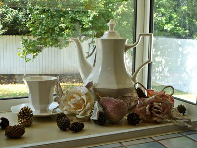 Enjoy this Christmas vignette as your gaze out the kitchen window!