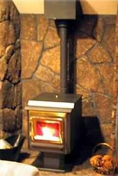 Warm up to the cozy pellet stove.