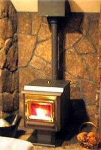 Sunriver house rental - Warm up to the cozy pellet stove.