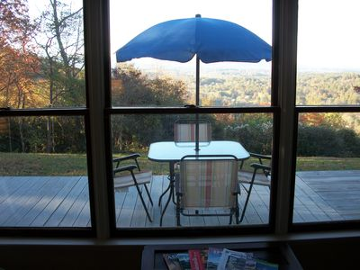 The View is Awesome Inside or Outside at Abbey Ridge Retreat All Year Round.