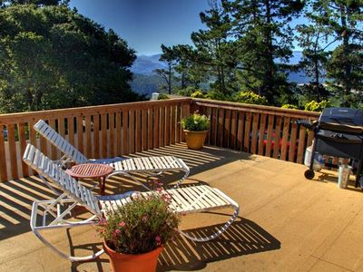 Private Deck with Ocean and Mountain Views for Lounging and Bar-B-Ques