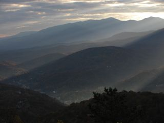 Sunrise as seen from condo balcony. Gatlinburg can be seen in the valley. - Gatlinburg condo vacation rental photo