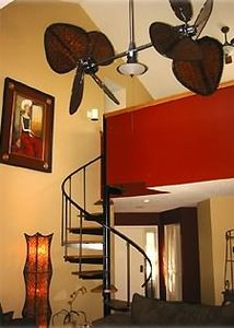 Fabulous living area with stairway to loft!  GREAT FAN!!!