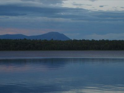 THE VIEW OF MT. KATAHDIN FROM THE BEACH