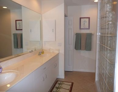 Master Bath with Glass-block large walk-in shower, Double-vanities