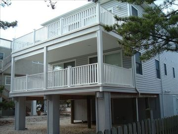 Large rear decks on two levels and outside shower.