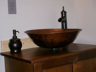 Old Amish Cabinet with Copper Bowl