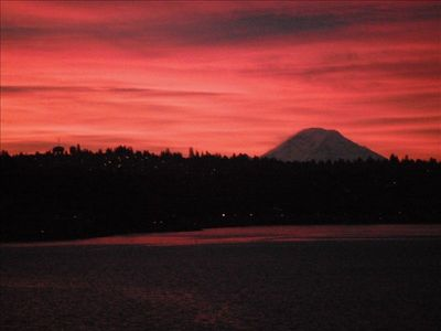 Morning sunrise view of Mt. Rainier from our deck.