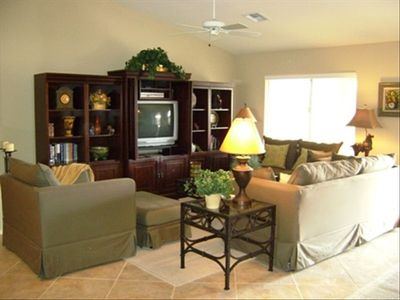 Comfortable and inviting Living Rm --seats for 8--TV, DVD,CD etc.