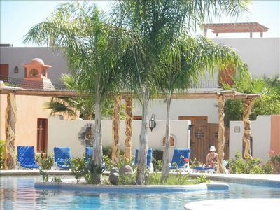 Loreto house rental - Community pool 400 feet away, lounge chairs, protected from strong breezes
