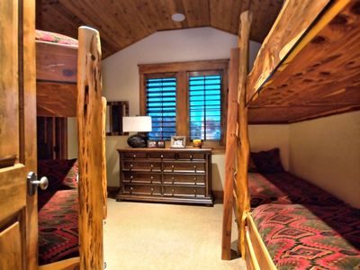 Upstairs Bunk Room with custom, Cedar twin-sized beds to sleep 6.