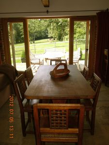 View to patio and oak dining table