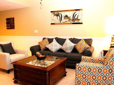 Newly furnished living room with queen size sofa bed