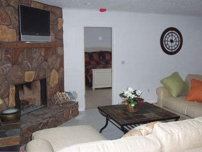 "Lounge with 32"" flat TV DVD and fireplace"