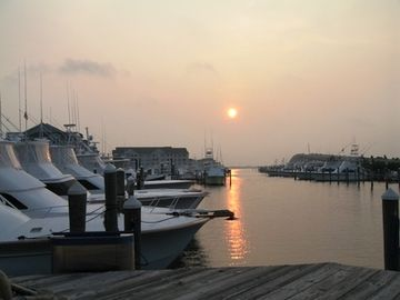 Full service Ship's Store and Marina and Sunrise over Roanoke Sound