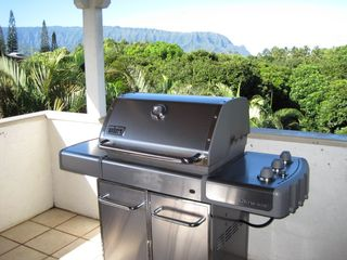 Princeville house photo - Weber Stainless steel BBQ on the Kitchen Lanai