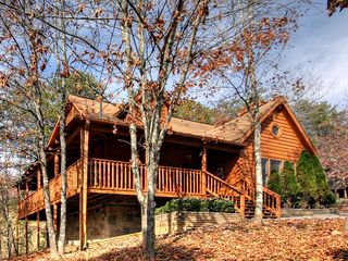 Pigeon Forge cabin photo - Side View From Yard - Wrap Around Deck