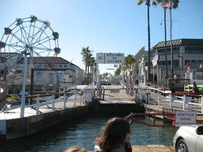 Ferry ride over to Balboa Peninsula to Pacific Ocean,boat rentals and Fun Zone