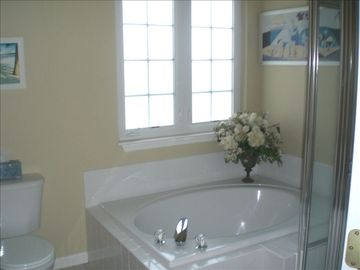 Garden tub and shower off the master bedroom