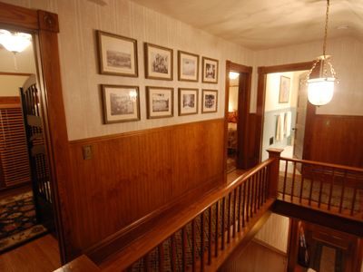 The upstairs hallway, with historic mementos
