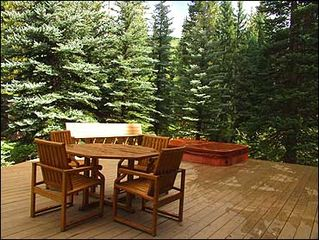 Vail townhome photo - Private Deck with Hot Tub Overlooking Gore Creek