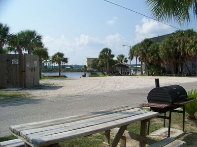Fish from pier, Boat ramp, extra parking, Bar BQ grlling, tables, Boat slip free