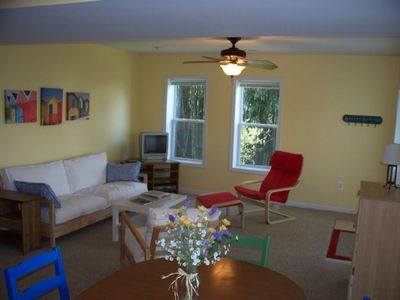 St. Leonard apartment rental - Comfortable, colorful living area, new Ikea furn.