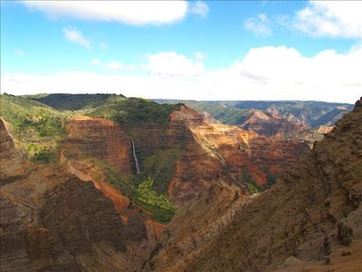The road to beautiful Waimea canyon starts just 2 blocks from the house