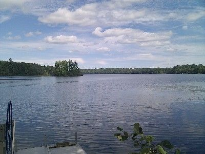 The view on Washington Pond from our boat launch. Small island in distance