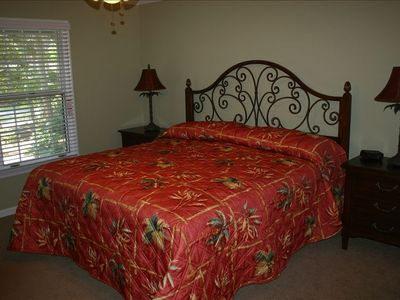 BR #2 (King): Retire in large bedroom with private bathroom and TV