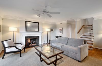 Living Room - Relax in the living area of this stylish 3BR, 2.5 BA duplex w/ natural sunlight