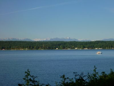 Views of Olympic Mountains from deck.