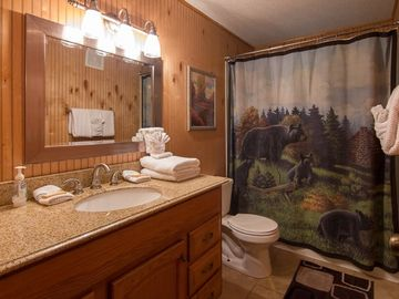 Upstairs hall bath with tub-shower combo. E-Z access for guests in Bdrms 4 & 5