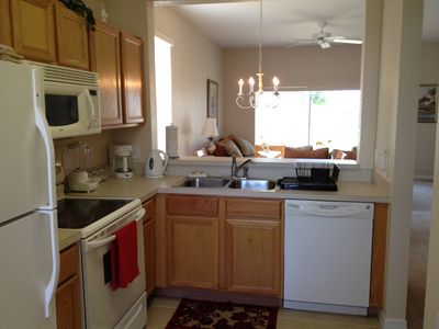 Fully equipped kitchen, full size/appliances, open concept, great for gathering.