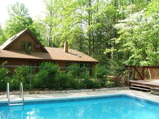 Private outdoor pool - inq about openings, hot tub open year round. - Asheville chalet vacation rental photo