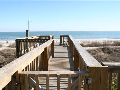 Our deck leads straight to the beach. My home is fresh, and ready to celebrate!